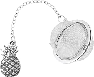 Supreme 18/8 Stainless Steel 2 Inch Mesh Tea Ball Infuser with Zinc Alloy Pineapple Charm