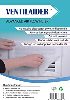 """Ventilaider Complete Air Vent Filter Set 20"""" x 84"""" Electrostatic Media With 126"""" of Installation Tape 35+ Filters per Roll..."""