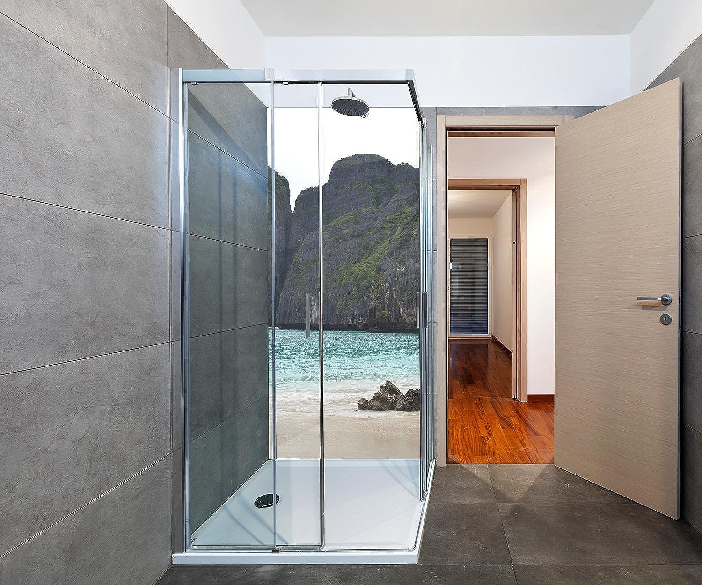 Wandmotiv24 Duschrückwand Maya Bay 90 x 200cm (B x H) - Plexiglas 4mm Duschwand Design, Keine Fugen M0877
