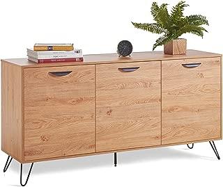 VonHaus Capri 3 Door Sideboard - Oak Effect Sideboard Table - Sideboard Cabinet - Lounge Dining Or Living Room Furniture
