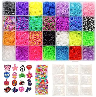 PLAYOLY 11000 Pc Rainbow Color Loomy Rubber Bands Mega DIY Refill - 10500 Premium Quality Stretchy Bands, 500 S Clips, 175 Beads, 24 Charms & Organizer Case