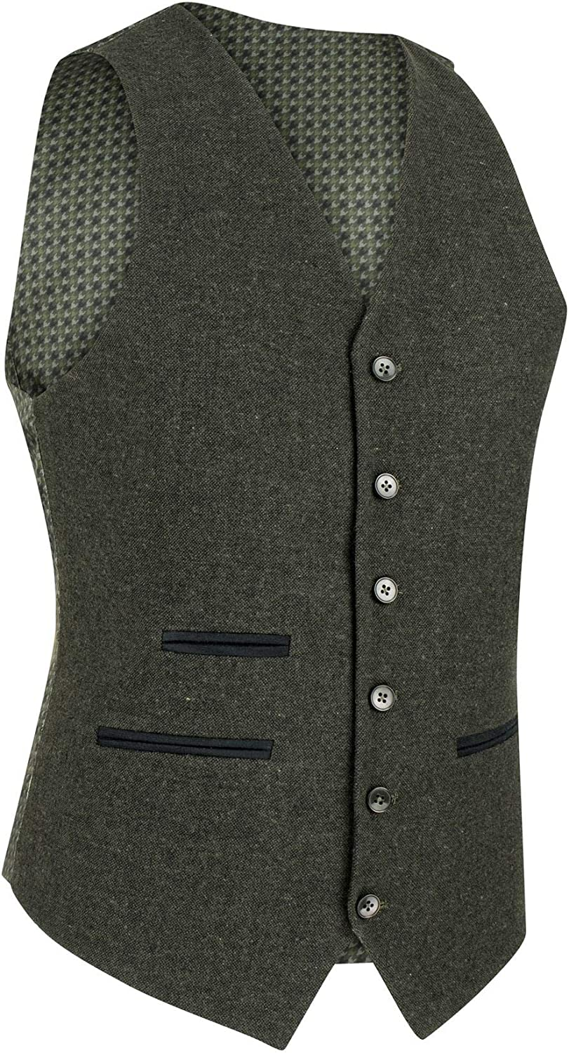 Mens Wool 3 Piece Suit Tweed Olive Green Black Tailored Fit Blinders Classic