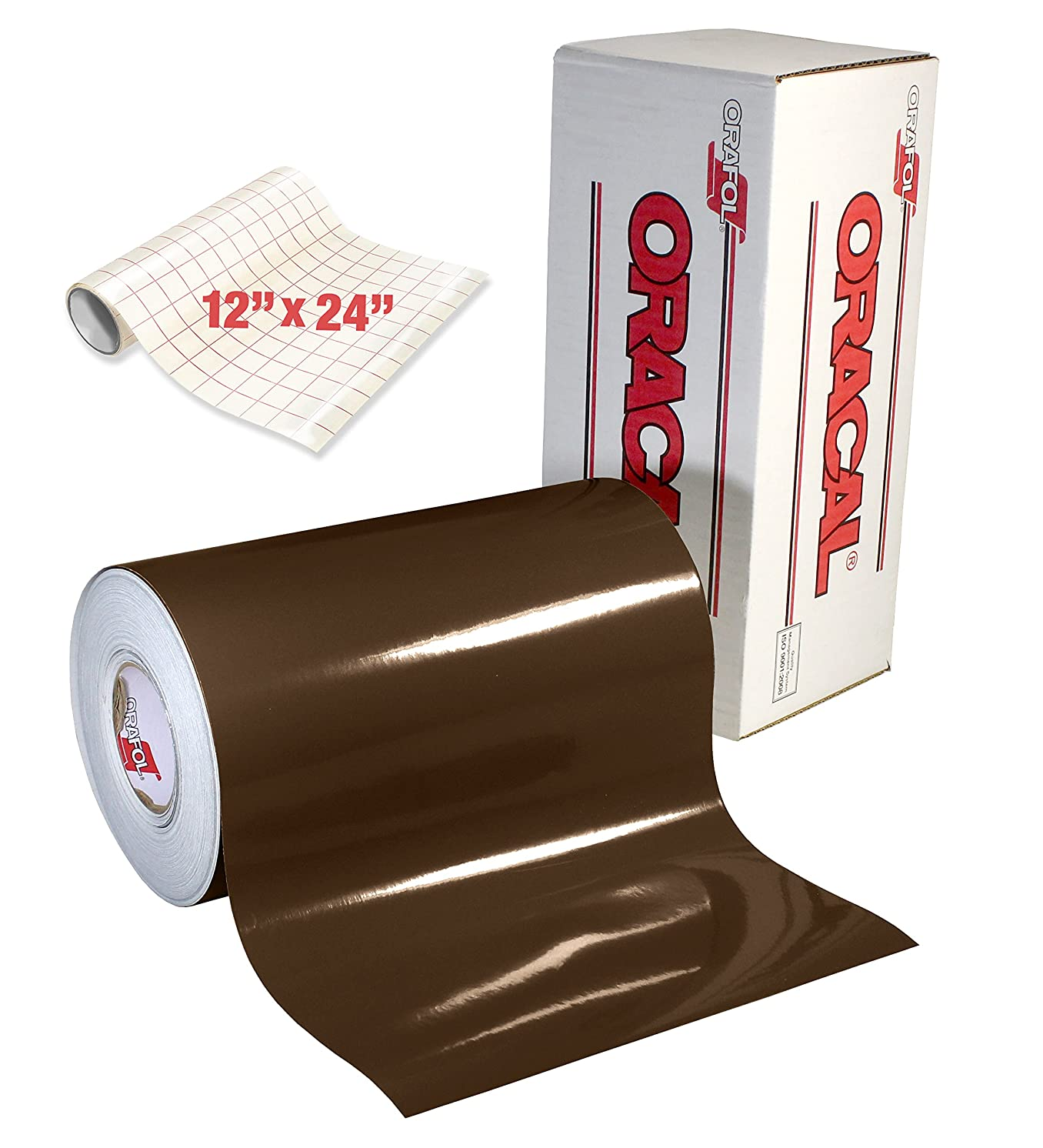 ORACAL 651 Gloss Brown Adhesive Craft Vinyl for Cameo, Cricut & Silhouette Including Free Roll of Clear Transfer Paper (30ft x 12