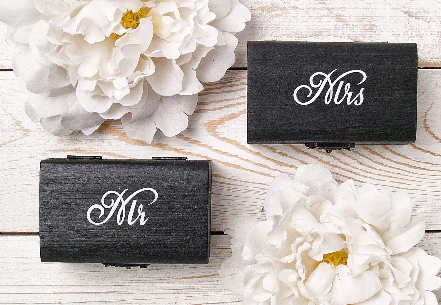 Mr and Mrs Ring Max 71% OFF Box Wedding Pillow Set Engraved Black Ranking TOP18