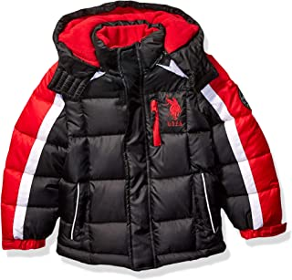 US Polo Association Boys' Big Bubble Jacket, Army Stripe...