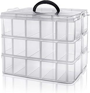 Kurtzy Caja Almacenamiento Plastico 3 Niveles - Ranuras de Compartimentos Ajustables - Caja Organizadora Plastico Transparente - Máximo 30 Compartimentos – Guardar Juguetes Joyas, Cuentas