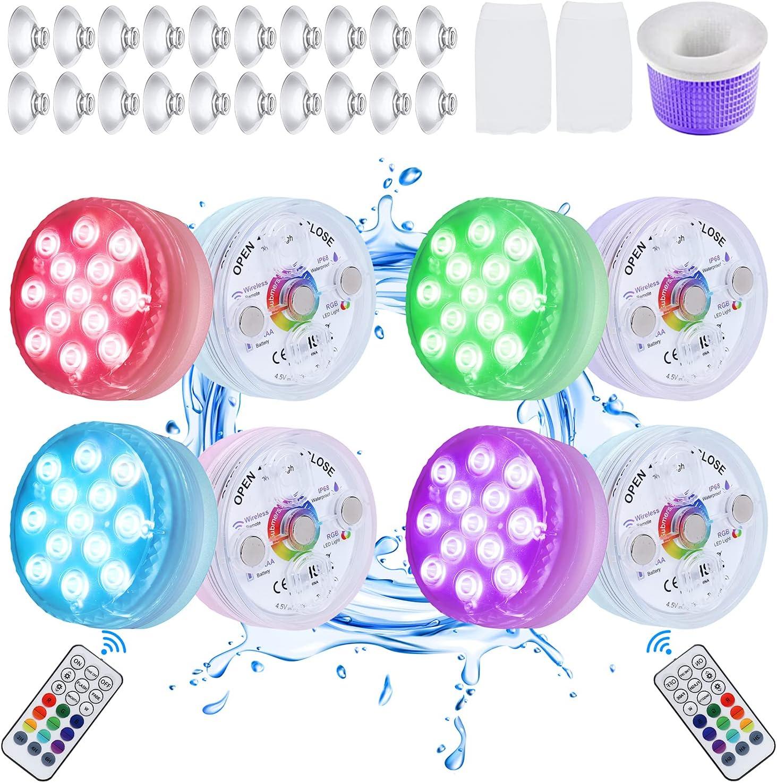 8 Pack Submersible LED Pool Bathtub Lights Light 迅速な対応で商品をお届け致します 在庫一掃売り切りセール IP68 Waterproof