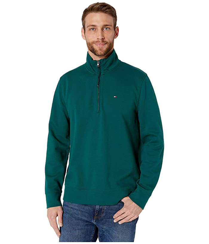 Tommy Hilfiger Adaptive  Mock Neck with Extended Half Zipper Pull (Botanical Garden) Mens Clothing
