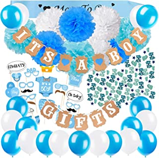 ZERODECO Baby Shower Decorations for Boys with It's a Boy and Gifts Banners Blue Sash Paper Pom Poms Balloons Cute Photo Booth Props Baby Shower Confetti