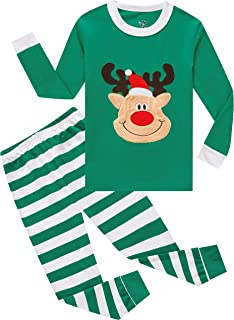 Image of Colorful Green Striped Christmas Reindeer Pajamas for Boys and Toddlers