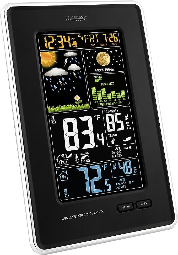 La Crosse Technology 308-1425B-INT Vertical Wireless Color Weather Station  with Pressure, Black : Patio, Lawn & Garden - Amazon.com