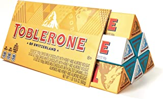 Toblerone Swiss Chocolate Gift Set, Milk Chocolate, White Chocolate and Crunchy Salted Caramelized Almond, ...