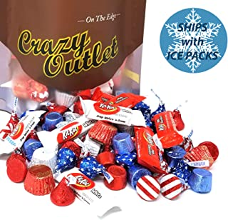 CrazyOutlet Patriotic USA Flag Colors Hershey Chocolate Candy Mix - Kisses USA Flag, Kit Kat Miniatures, Reese's Peanut Butter Cup, Red Blue Rolo Chewy Caramel, Bulk Pack, 3Lbs