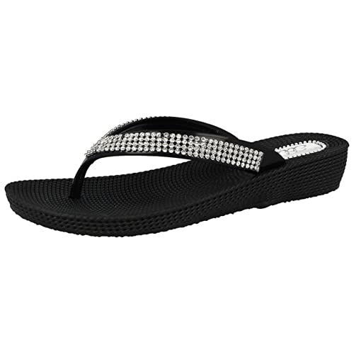 bcc1bf9f7 Ladies ELLA S1 Diamante Toe Post Flat Low Wedge Jelly Flip Flop Summer Sandals  Size 3