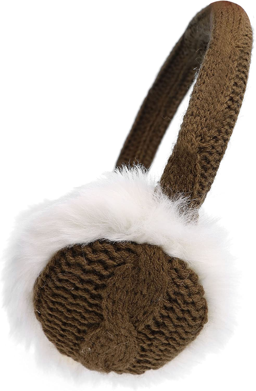 Denovit Men & Women's Faux Fur Knit Bendable Winter Earmuffs