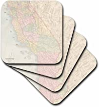 3dRose CST_178844_1 Vintage California Map USA Soft Coasters, (Set of 4)