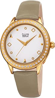 Burgi Crystal Filled Bezel Women's Watch - Unique Shapes and Diamond Hour Markers - Floating Enamel Dial - Round Analog Qu...