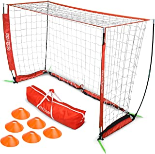 GoSports Elite Soccer Goals - Includes 1 Elite Goal,  6 Training Cones & Portable Carrying Case (Choose 6' or 12' Goal Size)
