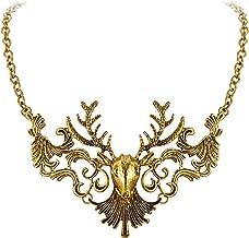 Flyonce Women's Alloy Vintage Boho Costume Statement Elk Deer Chunky Necklace Antique Gold-Tone