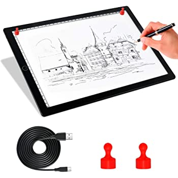 Dimmable Brightness LED Artcraft Tracing Light Pad with Scale USB Power for Drawing Sketching Animation Reviewing Film Negatives HEEPDD A5 Portable Thin Mini LED Light Box Tracer