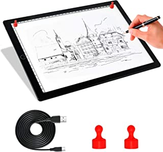 Comzler A4 Light Box Portable LED Tracing Copy Board Light Pad - Ultra Thin Adjustable USB Power Magnetic Trace Light Pad Dimmable Brightness for Tattoo Drawing, Stream, Sketching, Animation, Stencil