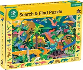 "Mudpuppy Dinosaur Search & Find Jigsaw Puzzle, 64 Pieces, Ages 4-7, 23"" x 15.5"", Multicolor Dinosaur Illustrations"