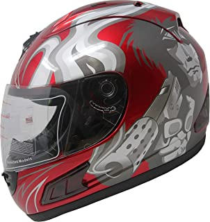 DOT Full Face Motorcycle Sports Bike Helmet (Red_L)