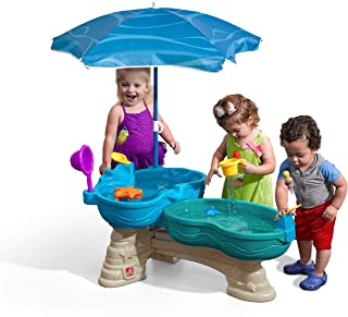 Step2 Spill & Splash Seaway Water Table   Kids Dual-Level Water Play Table with Umbrella & 11-Pc Accessory Set   Large Water Table
