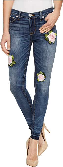 Nico Mid-Rise Ankle Super Skinny with Released Hem Five-Pocket Jeans with Rose Applique in Social Scene