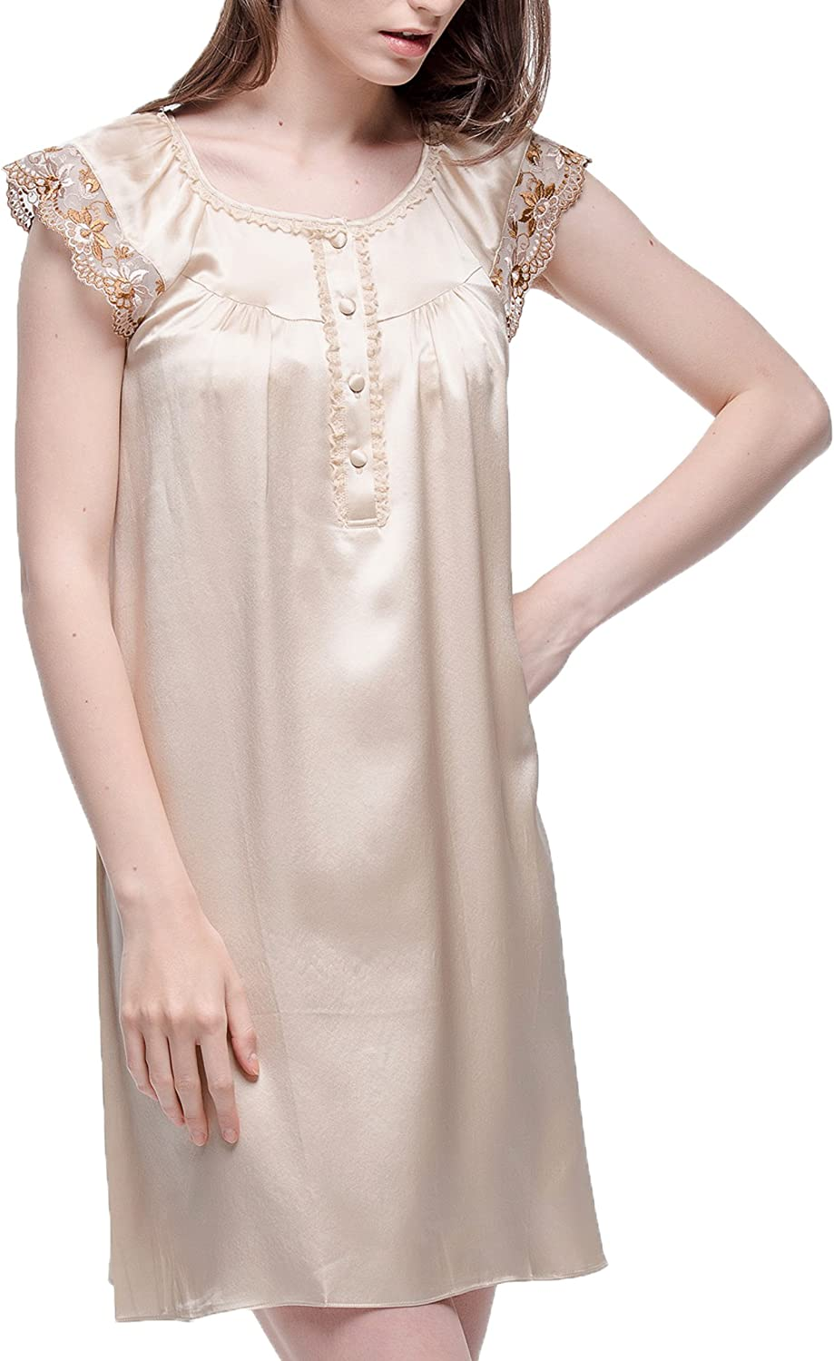 Chesslyre 100% Mulberry Silk Solid Lace Trimmed Women Nightgown Sleepwear