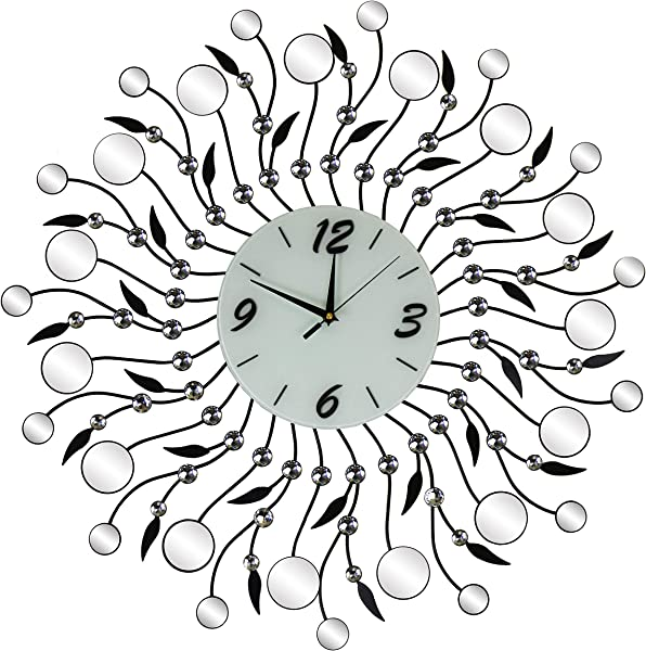 IMPORTED GIFT DEPOT Mirror Metal Silent Starburst Round Wall Clock Black Leaves Clear Gem Accents Large Decorative Wall Art Battery Operated Modern Living Room Office Or Home Decor