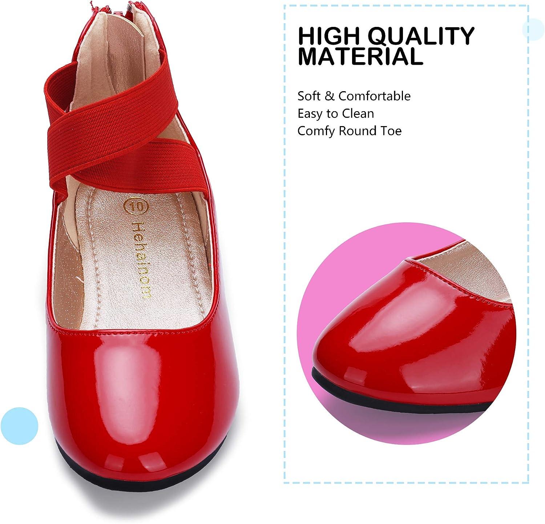 HEHAINOM Girls Dress Shoes Toddler Little Kids Gracy Ballet Mary Jane Ballerina Flats with Elastic Ankle Strap