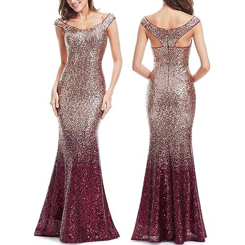 0cecee8e74f Ever Pretty Women Sparkling Gradual Champagne Gold Sequin Mermaid Cap  Sleeves Evening Dress Prom Dress 08999