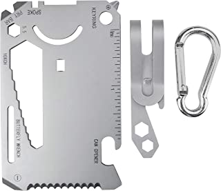 GGOdor 21 in 1 Multitool Card With Pocket Clip Wallet Survival Tool EDC Rescue Gear for Quick Fixes Free carabiner for han...