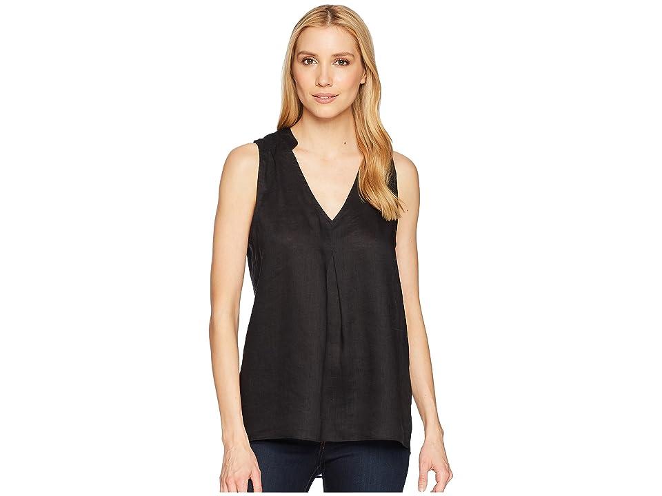 Elliott Lauren Handkerchief Linen Sleeveless Shirt with Pintuck Detail (Black) Women