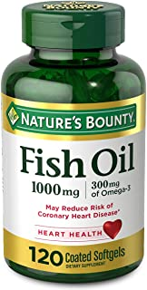 Fish Oil by Nature's Bounty, Dietary Supplement with 300mg Omega-3, Supports Heart Health, 1000mg, 120 Coated Softgels