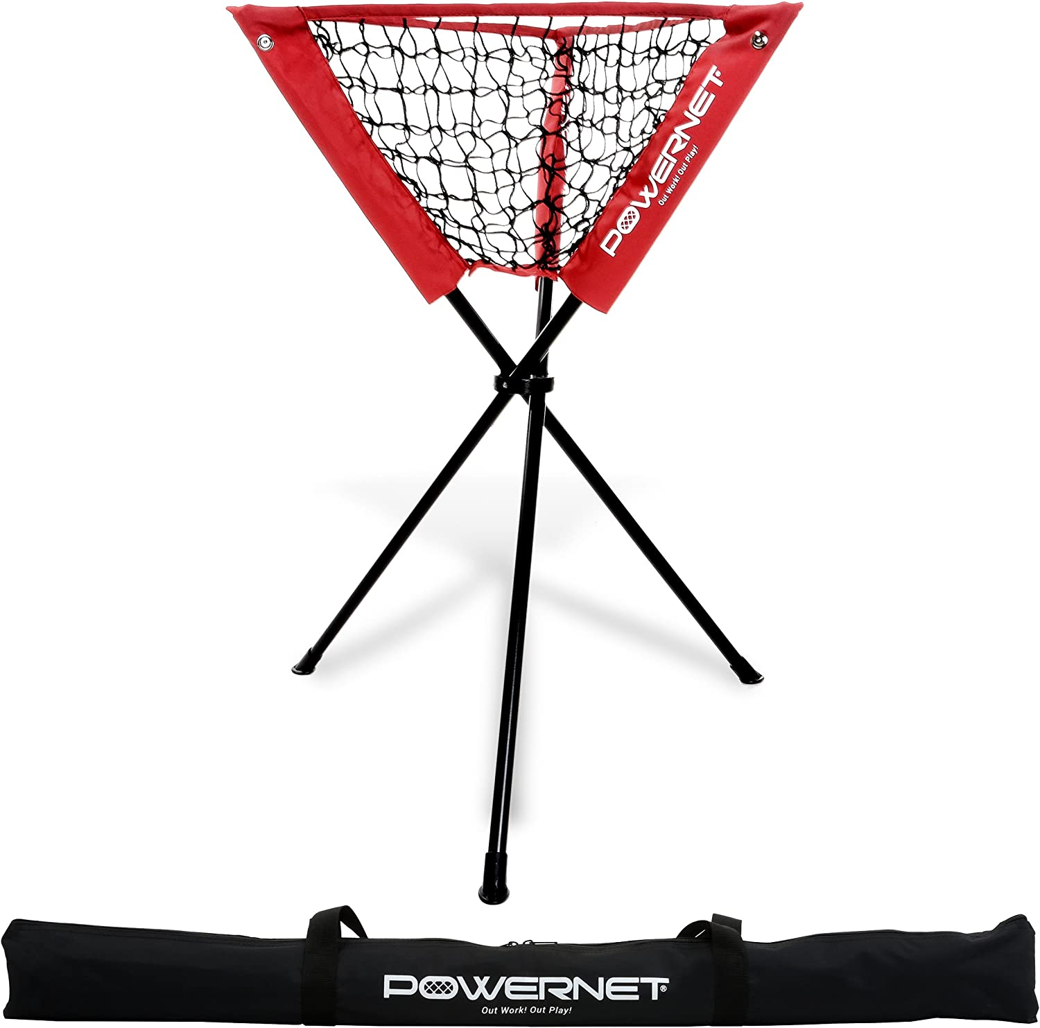 Powernet Ball Caddy   Baseball Softball Portable Batting Practice Ball Caddy   Use During Training and Drills   Save Your Back No More Bending   Holds up to 60 Baseballs   Instant Setup