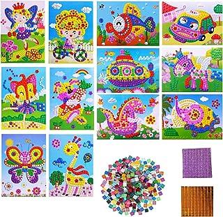 12 Pièces Kit Artisanal de mosaïques collantes pour Enfants, Kits D'artisanat pour Filles, Autocollant à Pois Autocollant ...