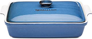 Rossallini Stoneware Casserole Dish Bakeware Set with Lid, Covered Rectangular Dinnerware, Large 4 Quart, 13 by 9 Inch, Blu Indaco [Reactive Blue]