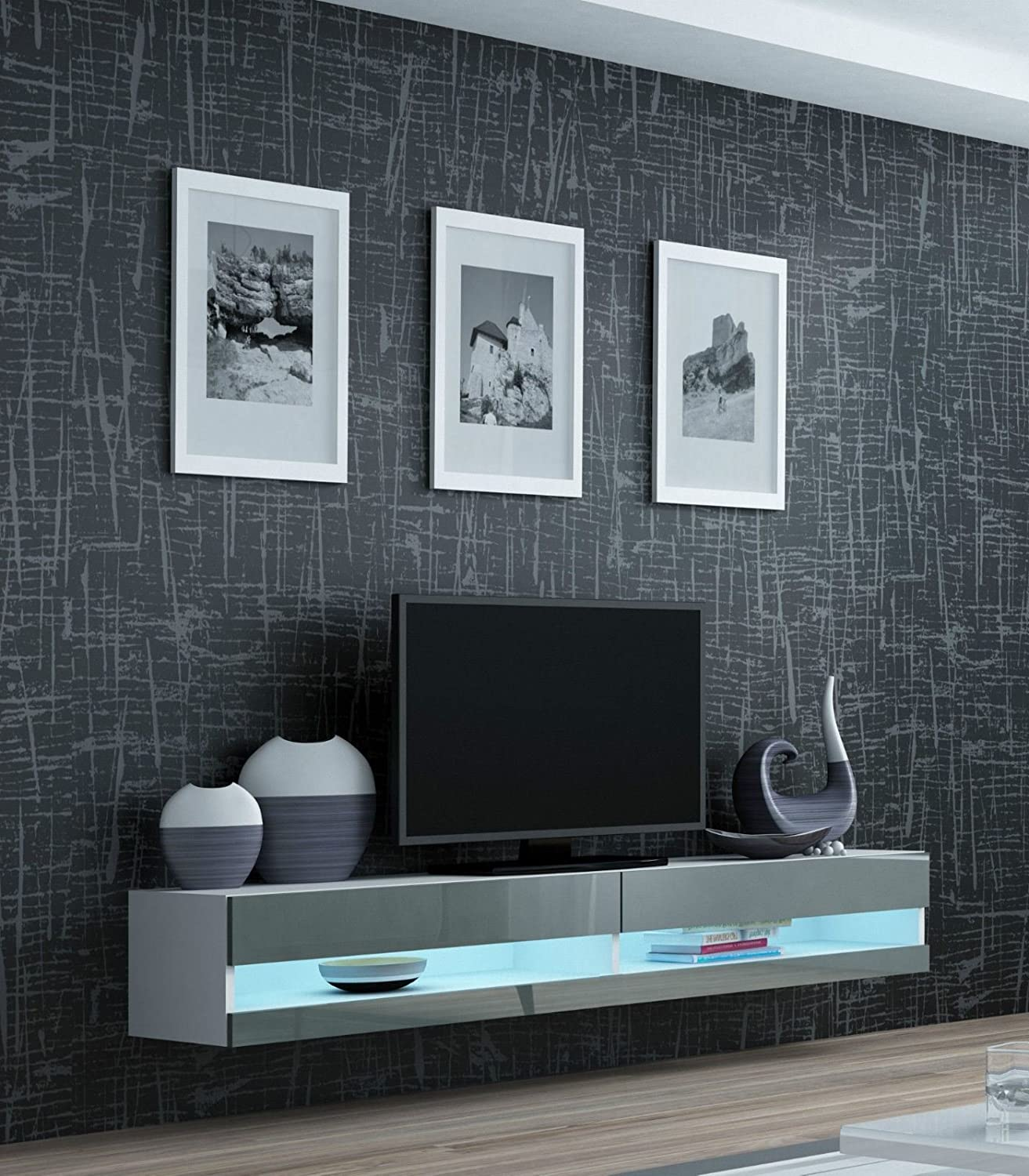 High Gloss Living Room Set With Led Lights Tv Stand Wall Mounted Cabinet Modern Display Units Floating Design 1 Tv Unit Grey Amazon Co Uk Kitchen Home
