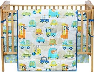 VHC Brands Bright Blue Bedding Buzz Around Town Quilt Fitted Crib Sheet Dust Ruffle Bumper Set