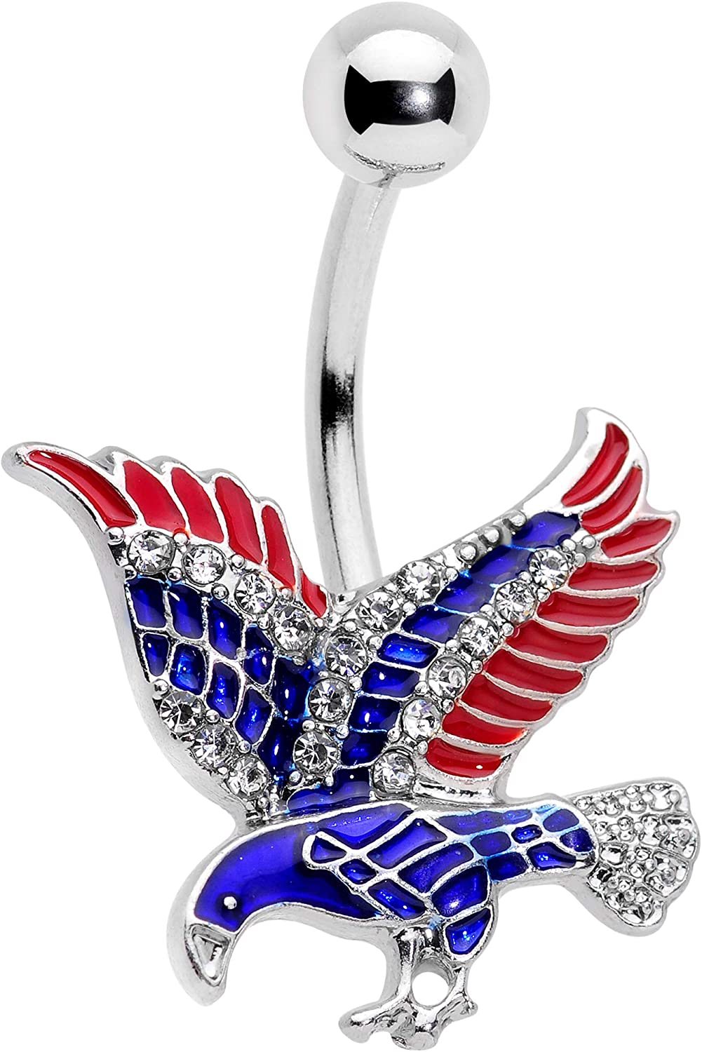 Body Candy 14G 316L Stainless Steel Navel Ring Piercing Red Blue American Eagle USA Belly Button Ring