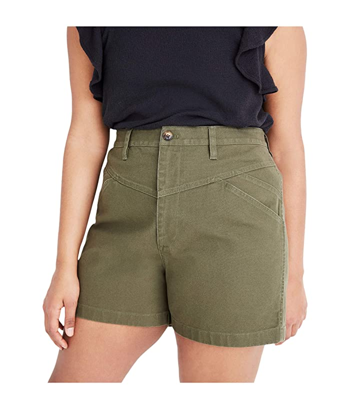 1980s Clothing, Fashion | 80s Style Clothes Madewell Emmett Shorts with Yoke Olive Surplus Womens Shorts $69.50 AT vintagedancer.com