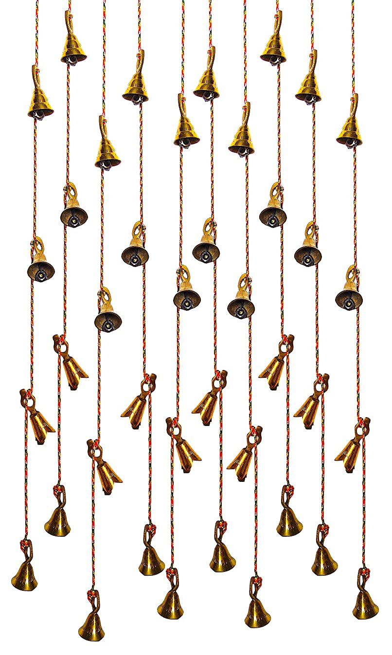 Shalimar's Showroom String of Bells Set of 12 Brass Hanging Door Bells Decorative String Indian Style Fair Trade Wall Hanging Bells (37