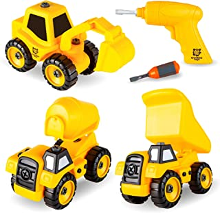 Take Apart Construction Truck Toys with Battery Powered Drill, Set of 3 Educational Build It Yourself Vehicles - Dump Truck, Cement Truck, Excavator - Great Gift for Boys & Girls Ages 3 +