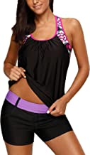 Sidefeel Women Floral Blouson Swimwear T-Back Tankini Top(No Bottom)