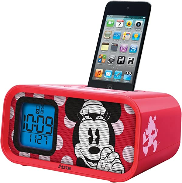 Ekids Disney Minnie Mouse Dual Alarm Clock Speaker System With Ipod Dock Product Category Ipod Accessories Speaker Systems For Ipod