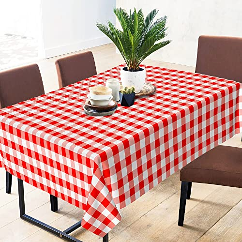 Sorfey Vinyl Tablecloth Cover, Kitchen Dining, Rectangle, Washable Checkered Design, Heavy Duty Dust-Proof Flannel Backed Lining 60x84 Red