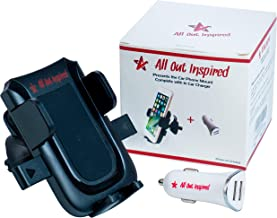 All Out Inspired Phone Mount Holder with 3.1A Dual Port in Car Charger - Best Hands Free Solution Suitable for Your iPhone, Samsung and Smartphone Upto 3.5 Inches Wide Lightweight, Sturdy, Sleek
