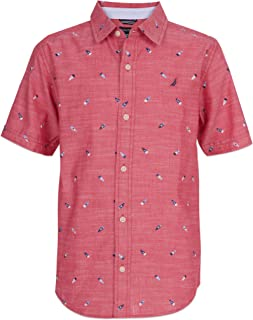Nautica Boys' Short Sleeve Patterned Button Up Shirt